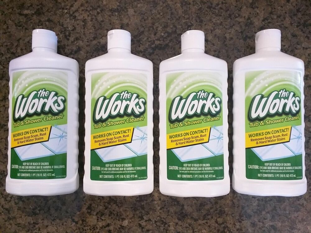The works tub shower cleaner removes soap scum rust hard - Bathroom cleaner for hard water stains ...