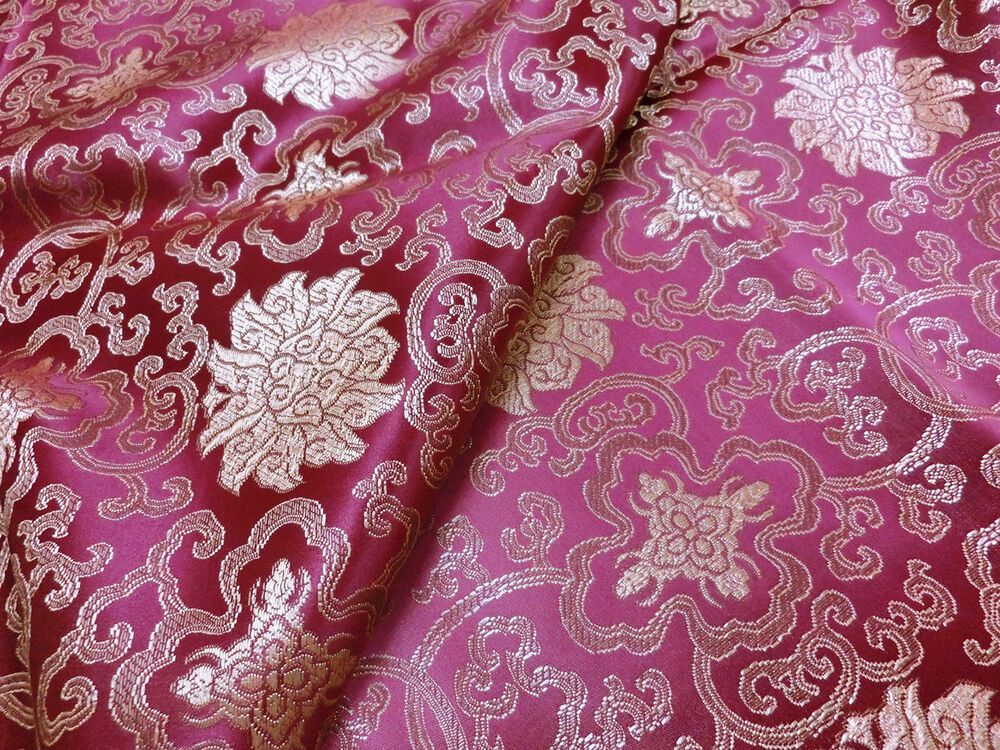 Purple w gold brocade embroidered faux silk shantung