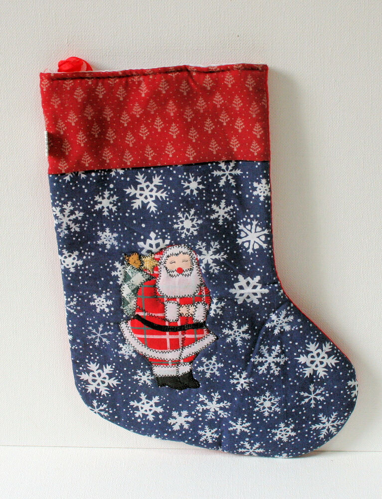 embroidered christmas stockings santa embroidered quilted snowflake pattern 29038
