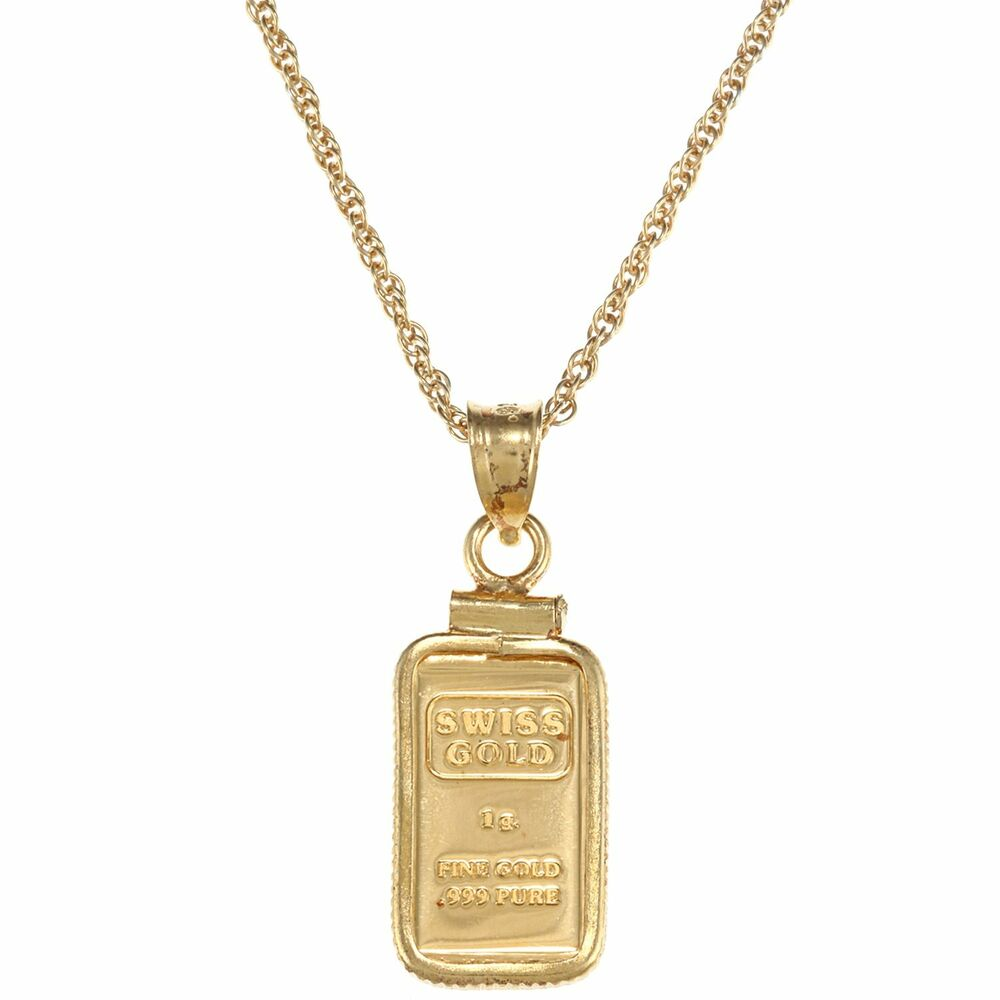 American Coin Treasures 1 Gram Gold Ingot Pendant Necklace
