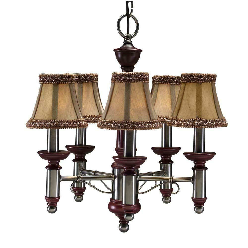 burgundy antique nickel 5 light chandelier ebay 87980