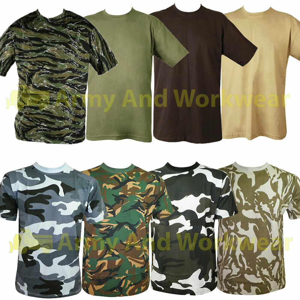 Mens camouflage military army print combat t shirt top dpm for Camouflage t shirt printing