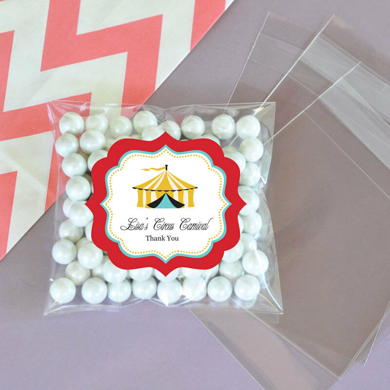 Personalized Party Favor Boxes Birthday : Circus carnival party personalized clear candy bags