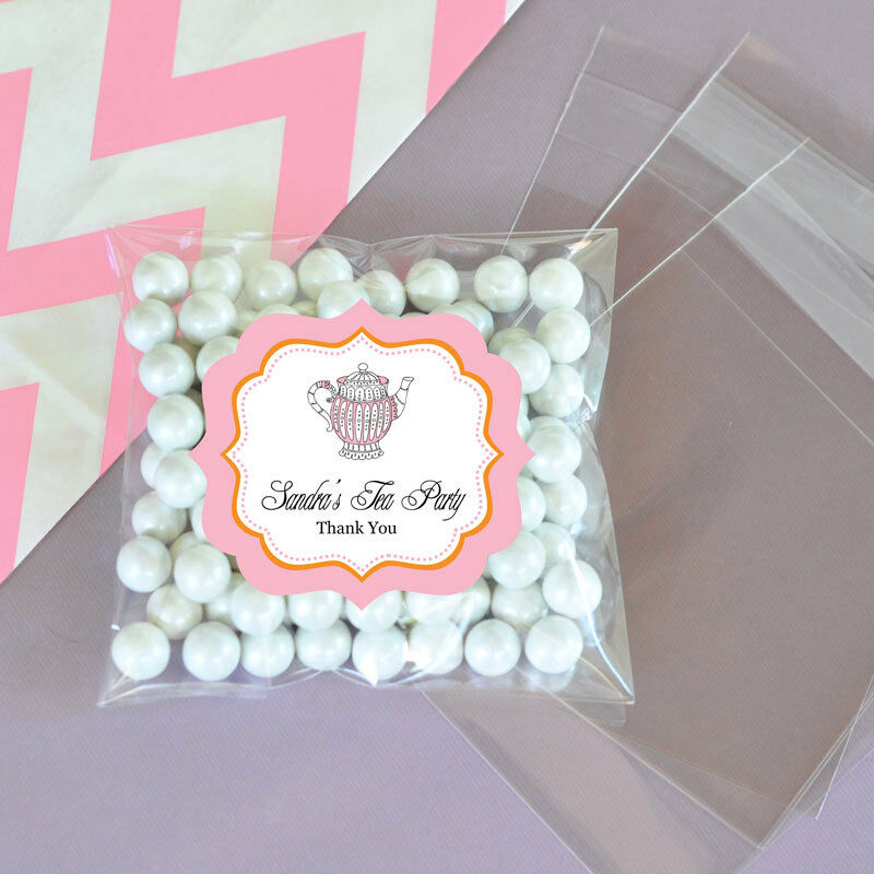 24 Pink Tea Party Personalized Clear Candy Bags Bridal Shower