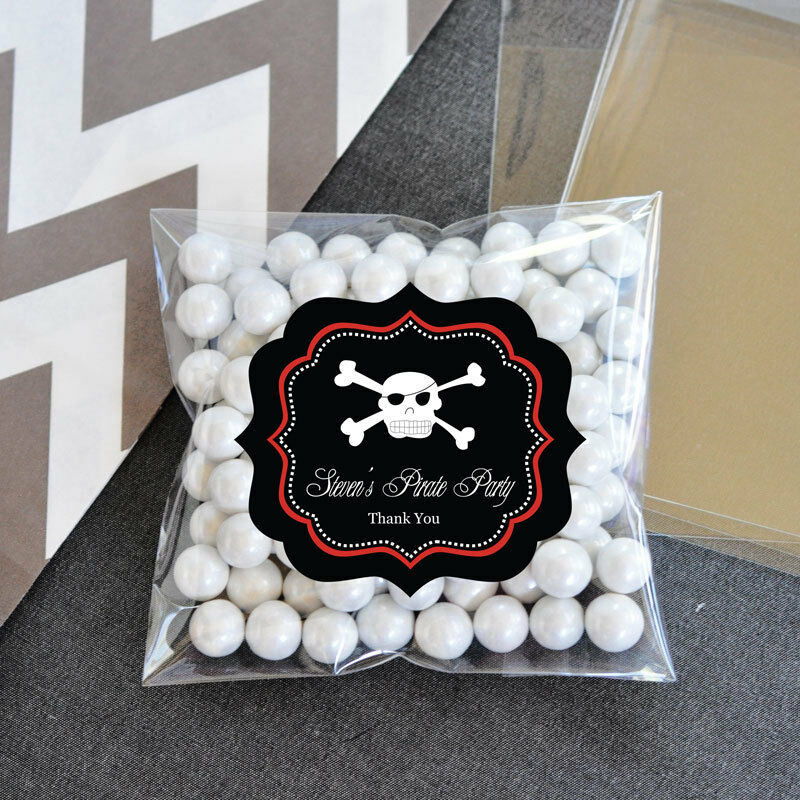 18th Birthday Birthday Party Favor Gumball Candy: 24 Pirate Party Personalized Clear Candy Bags Birthday