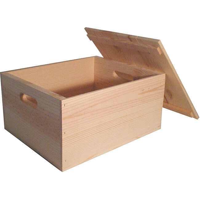 heavy duty unfinished pine crate with lid ebay. Black Bedroom Furniture Sets. Home Design Ideas