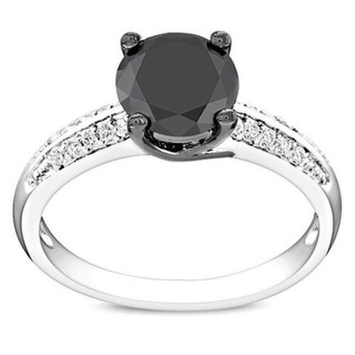 Miadora Sterling Silver Black Cubic Zirconia Engagement ...