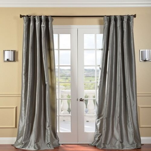 faux silk curtains exclusive fabrics solid faux silk taffeta platinum curtain 10803