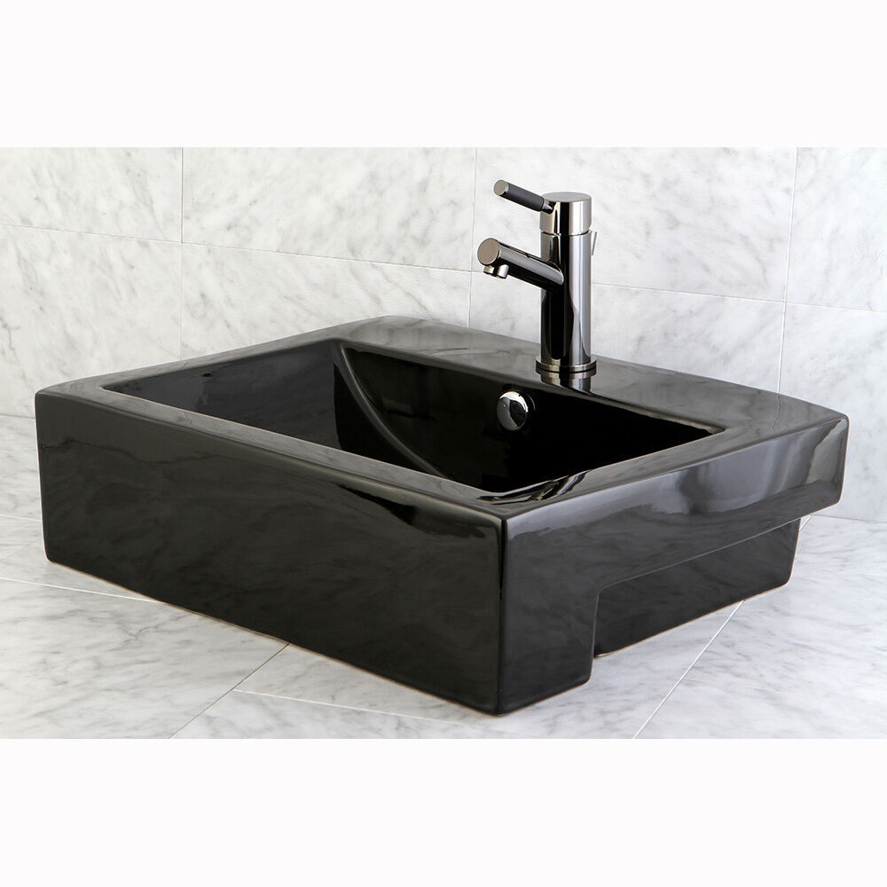 ... Black Vitreous China Recess Table/ Wall Mount Bathroom Sink eBay