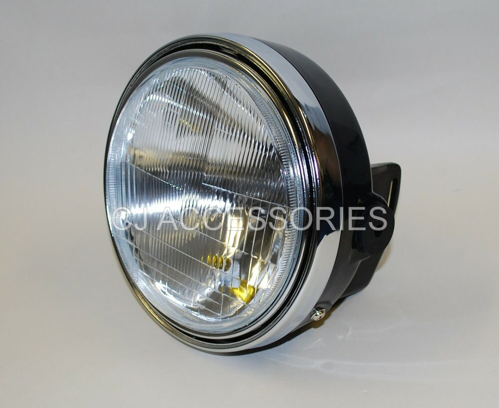 Cafe Racer Headlight Assembly : Universal black quot motorcycle headlight with chrome rim