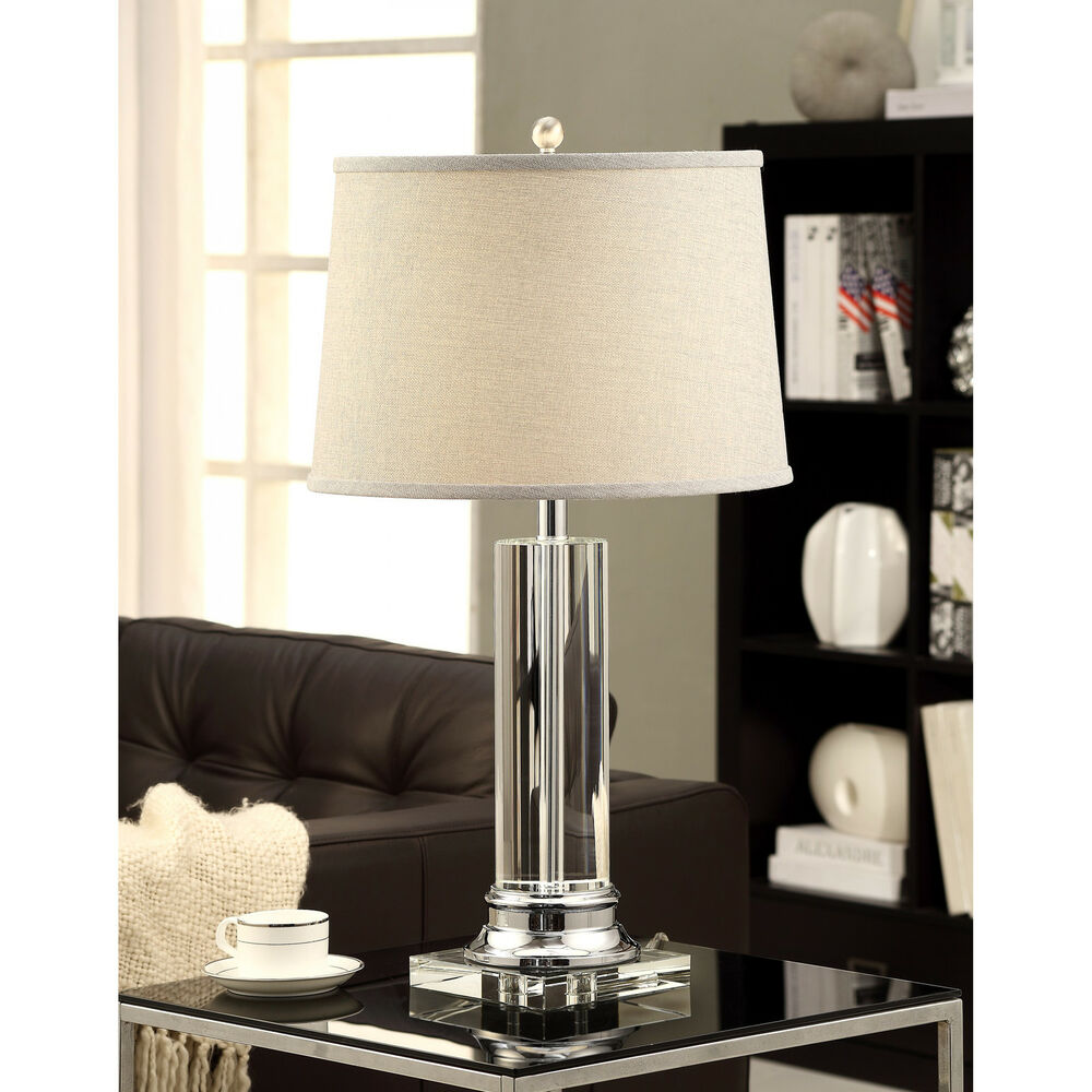 Crystal column table lamp with grey shade ebay for Table column