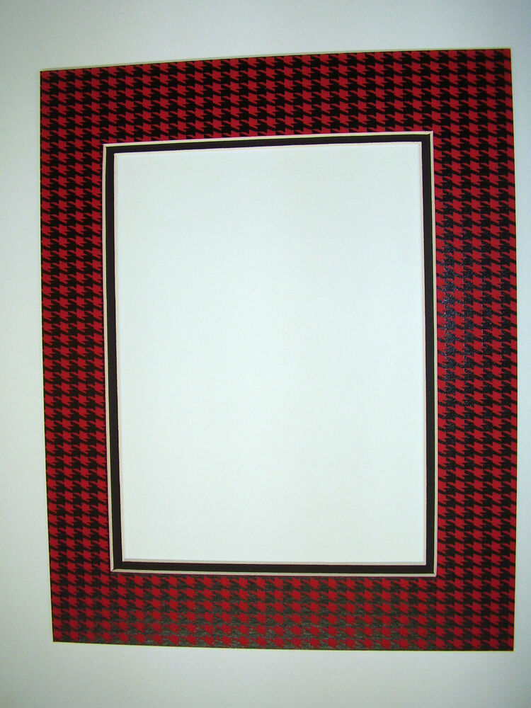 picture frame double mat 8x10 for 5x7 photo houndstooth black red check ebay. Black Bedroom Furniture Sets. Home Design Ideas