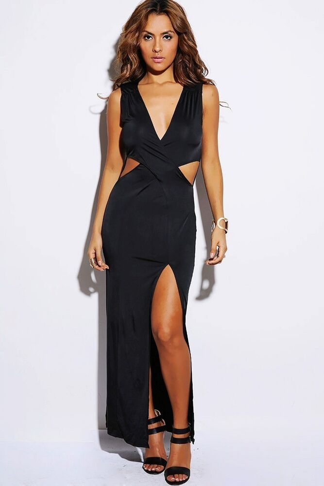 Sexy Black High Slit Wrap Cut Out Long Evening Cocktail