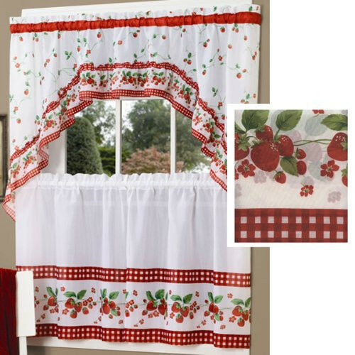 strawberry vine fruit design red curtains and swag set ebay. Black Bedroom Furniture Sets. Home Design Ideas
