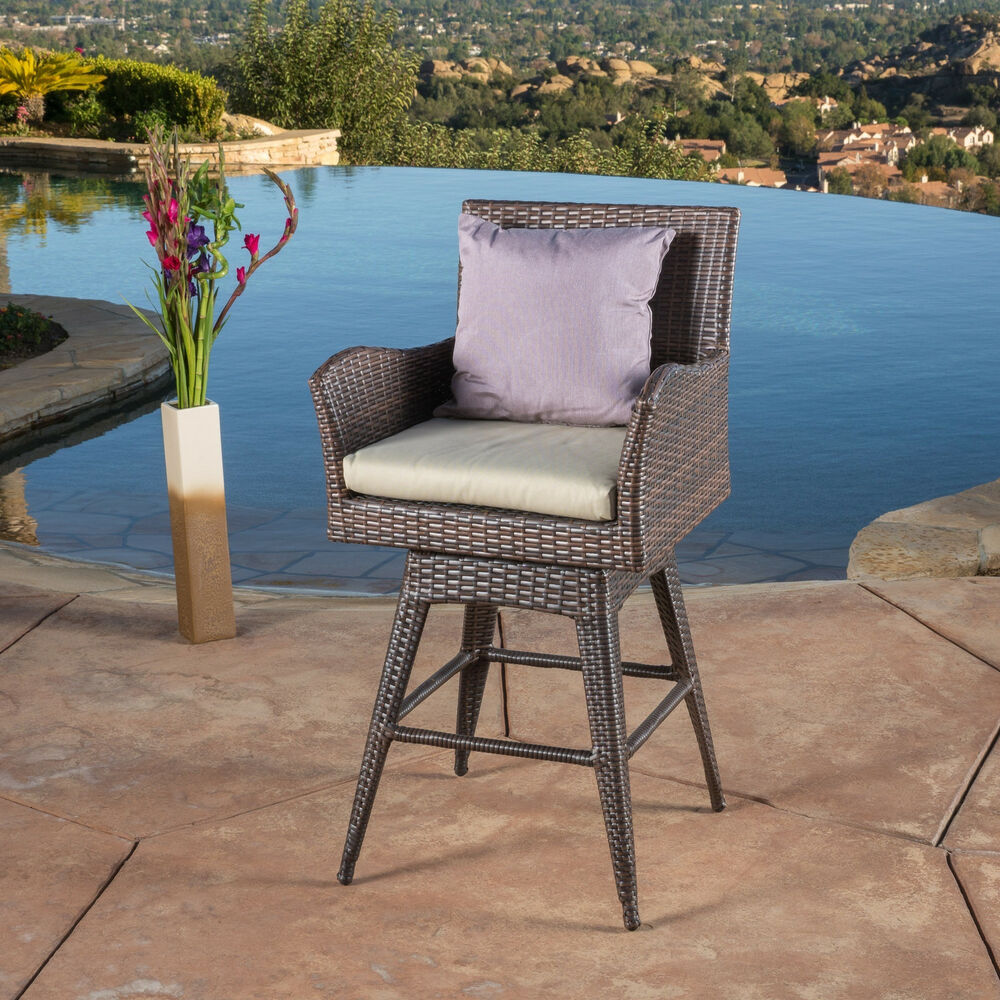 Braxton Outdoor Wicker Swivel Armed Barstool with Cushion by Christopher Knig
