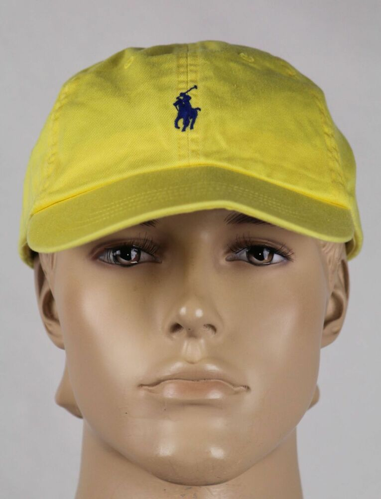 polo ralph lauren yellow blue pony baseball ball cap hat. Black Bedroom Furniture Sets. Home Design Ideas
