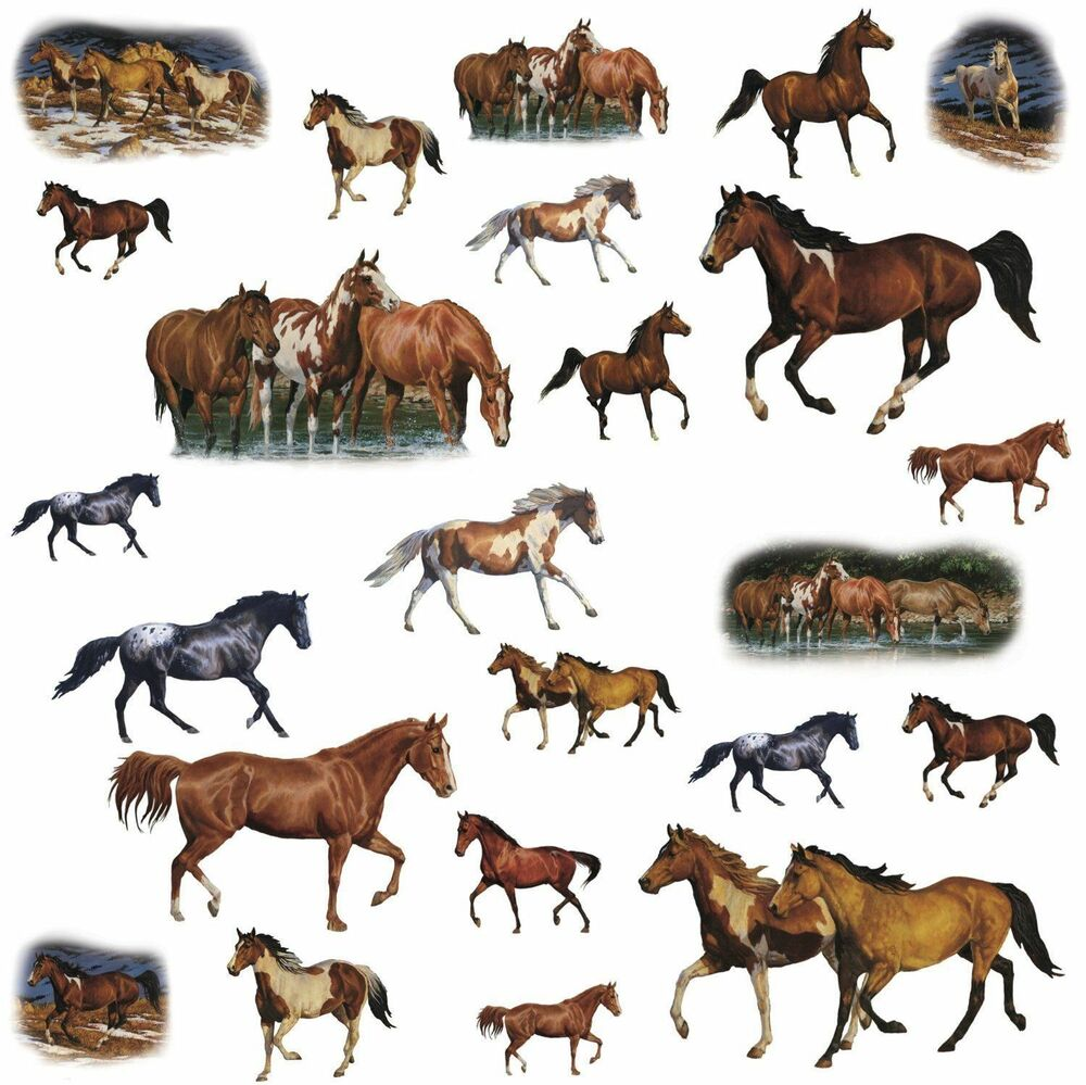 24 wild horses wall stickers western room decor ranch
