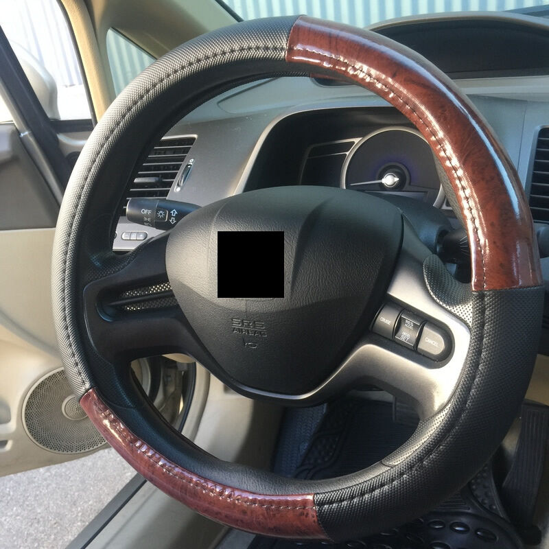 uaa burl wood trim black pvc steering wheel cover universal fit car truck suv ebay. Black Bedroom Furniture Sets. Home Design Ideas