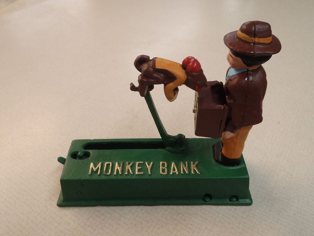 vintage cast iron monkey bank piggy bank coin bank ebay. Black Bedroom Furniture Sets. Home Design Ideas