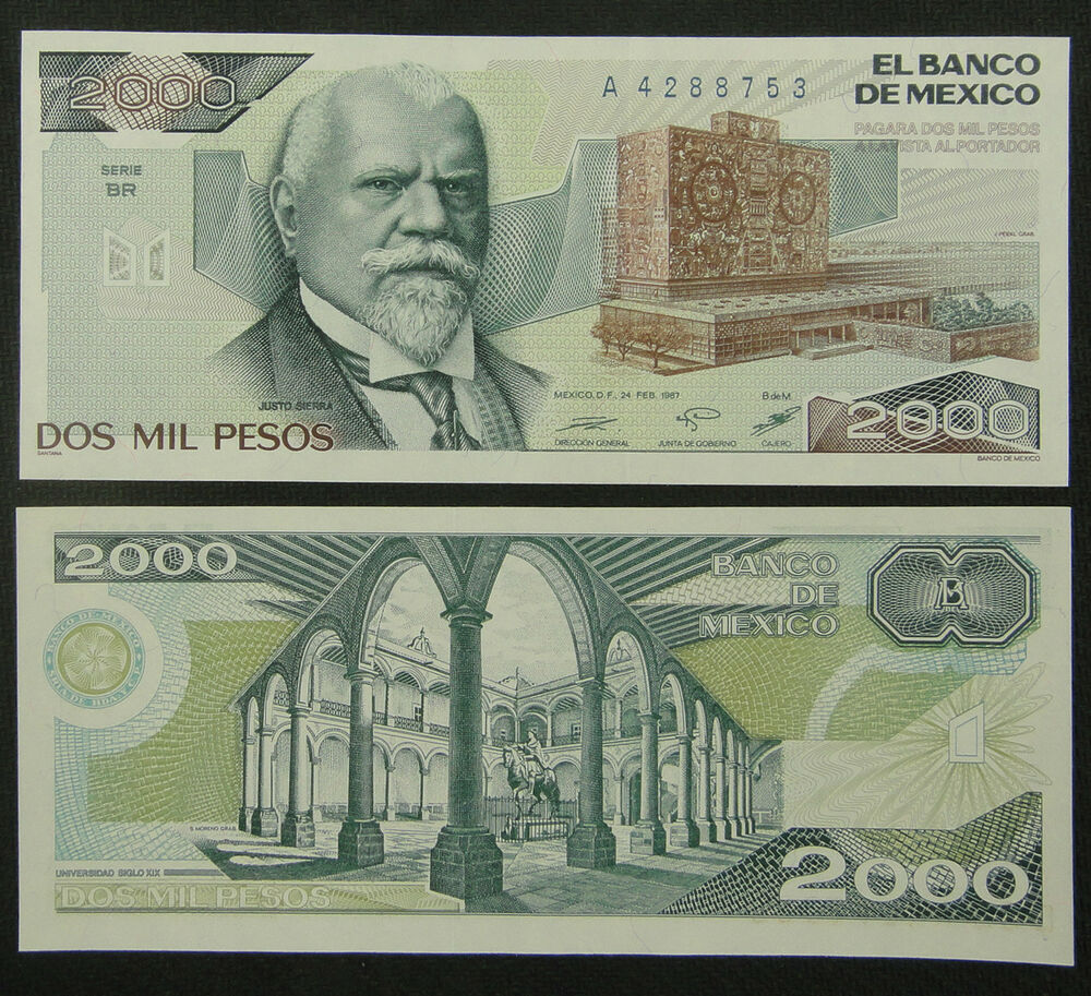 Money: Mexico Paper Money 2000 Pesos 1987 UNC
