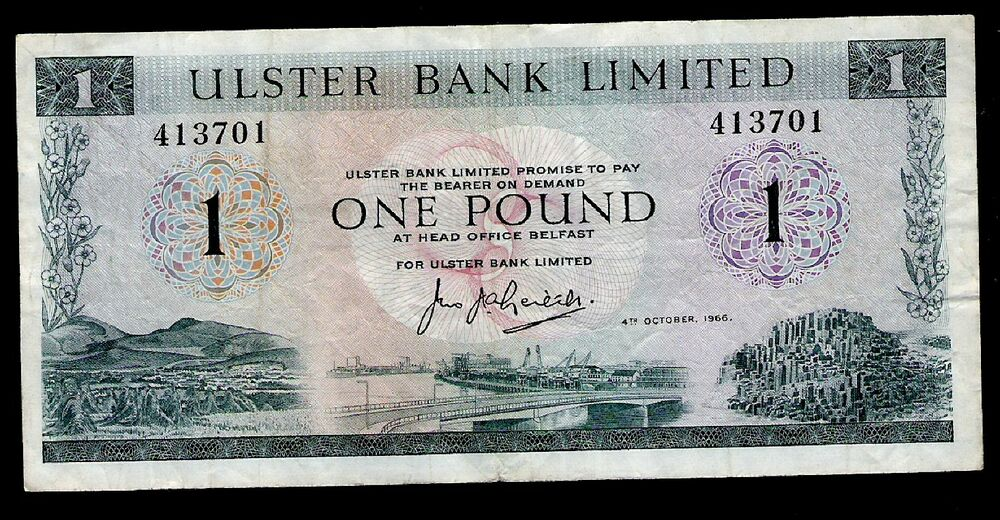 Details About North Ireland Ulster Bank 1 Pound 1966 P321 Vf