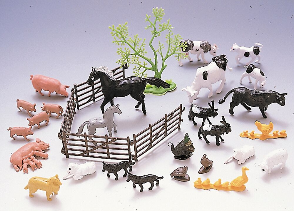 bauernhoftiere aus plastik tiere farmtiere 30 teile spielfiguren kunststoff zaun ebay. Black Bedroom Furniture Sets. Home Design Ideas