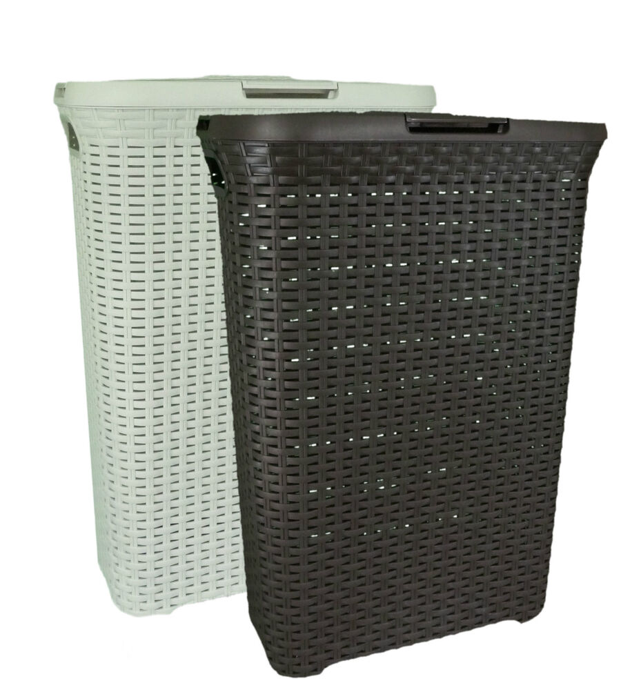 curver 40 l slim rattan style plastic laundry linen basket storage box hamper ebay. Black Bedroom Furniture Sets. Home Design Ideas