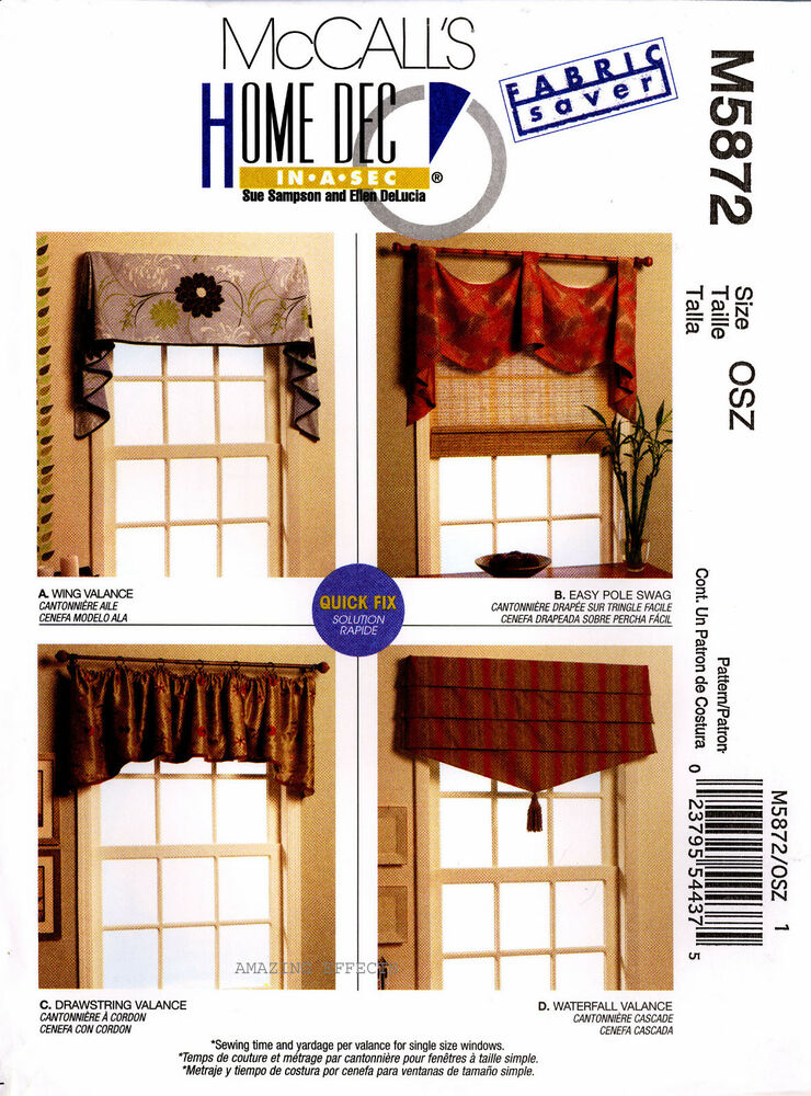 McCall's Sewing Pattern M5872 Valances Swag 5872 curtains Window ...