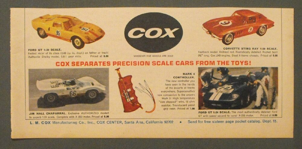 1965 Toys For Boys : Cox racing slot cars ford gt corvette sting ray model