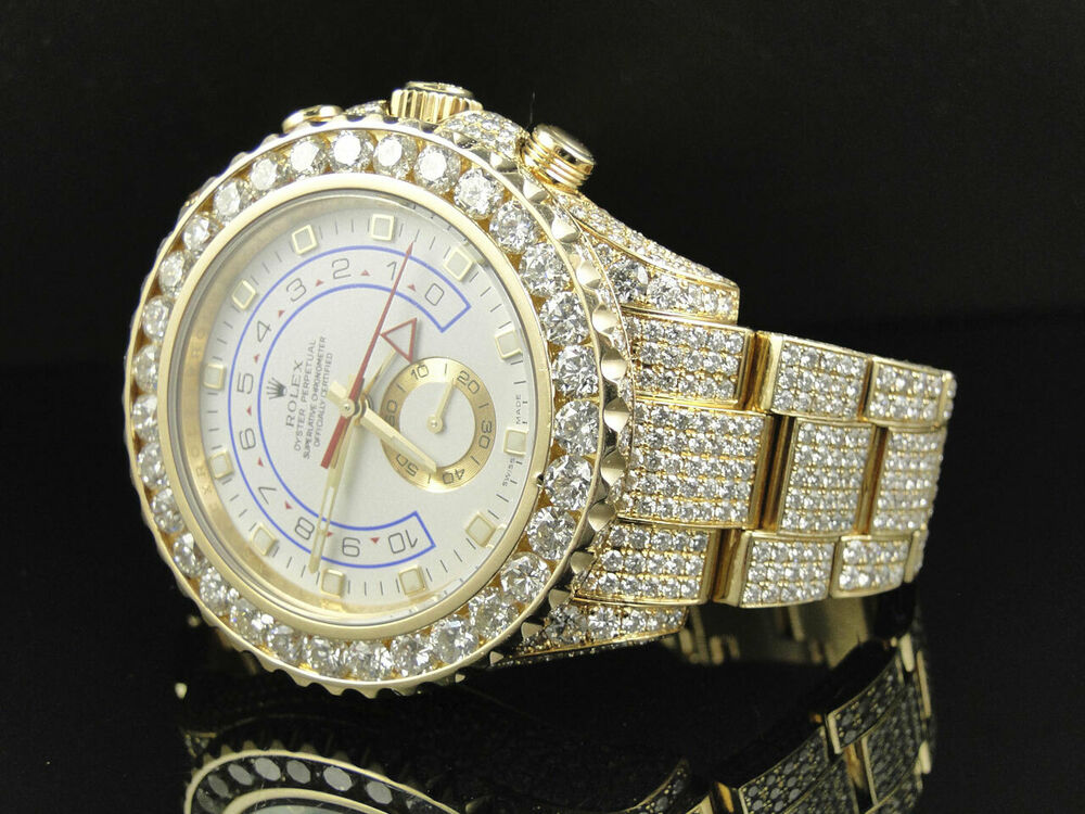 amazing mens rolex yatchmaster 2 ii 18k yellow gold diamond watch with 36 ct ebay