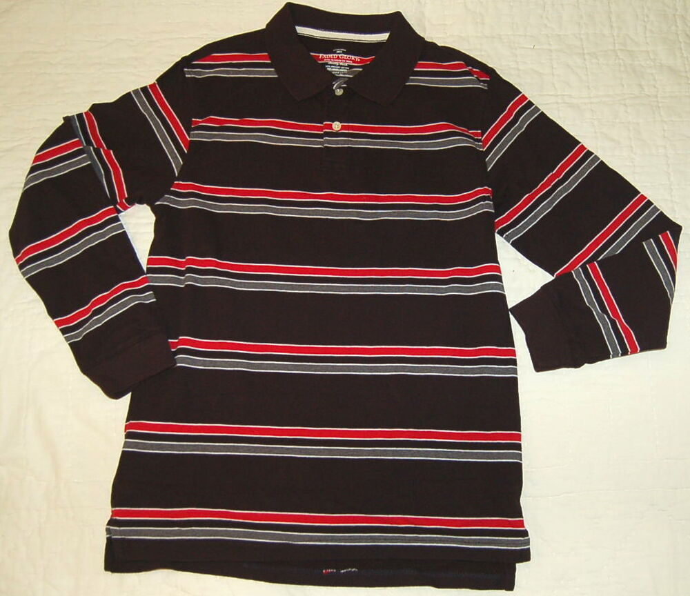 Boys polo shirt long sleeve black red grey stripe 2x 18 ebay for Red white striped polo shirt
