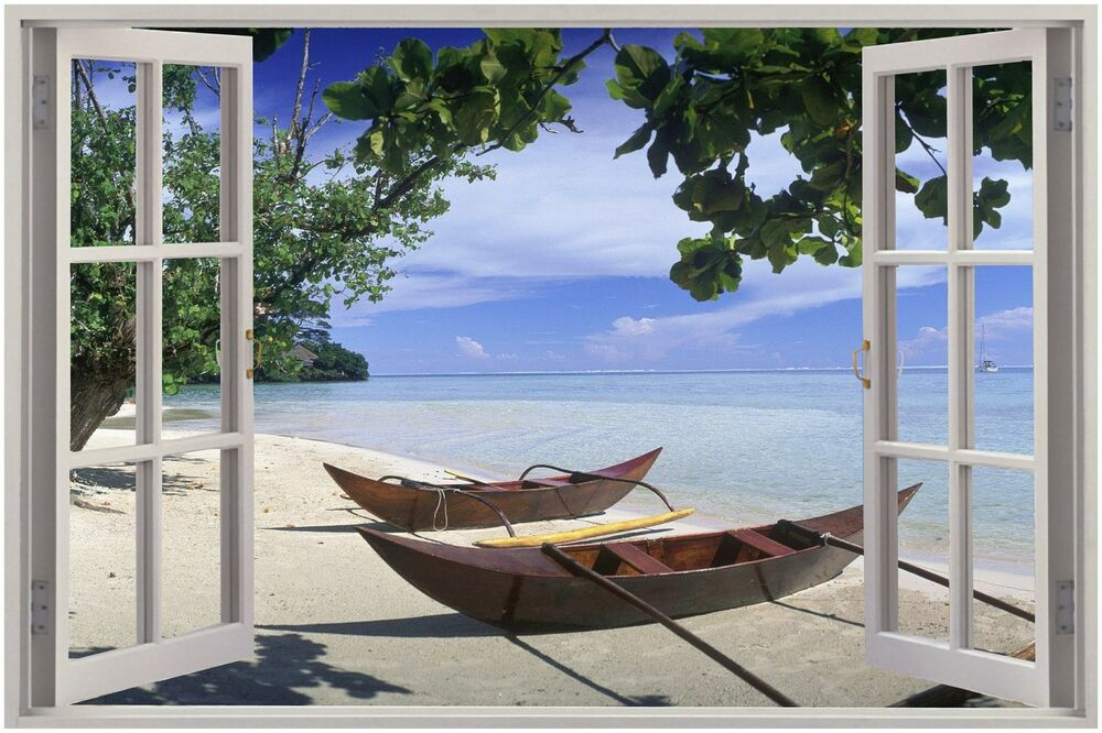 Huge 3d window view exotic beach wall sticker film mural - Stickers papier peint mural ...