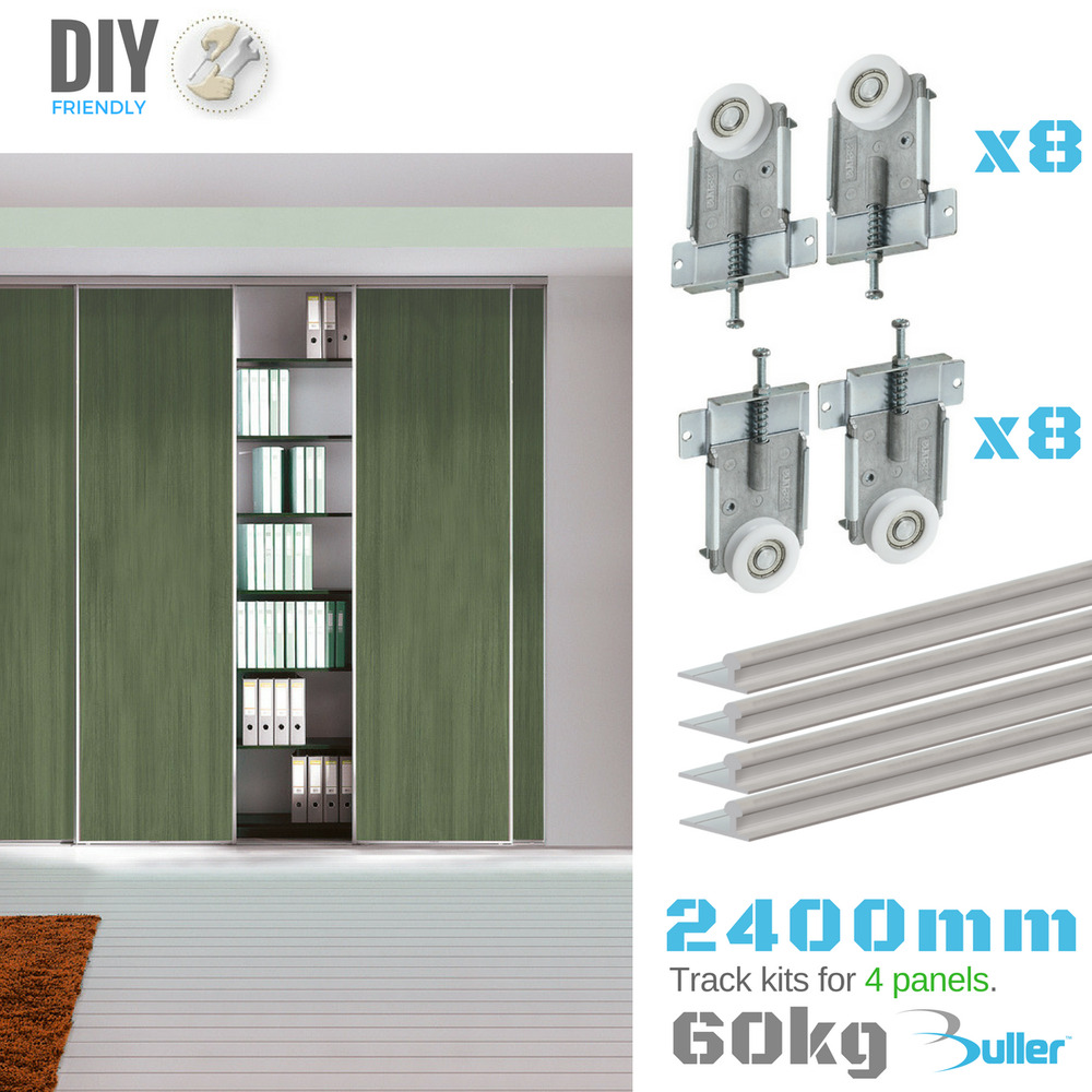 fastor sliding wardrobe door 2400mmtrack kit diy spring. Black Bedroom Furniture Sets. Home Design Ideas