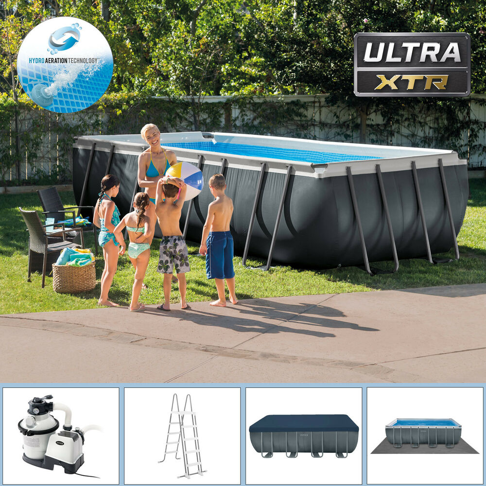 Intex 549x274x132 swimming pool set rechteck stahlwand frame schwimmbad 28352gs ebay - Swimming pool stahlwand ...