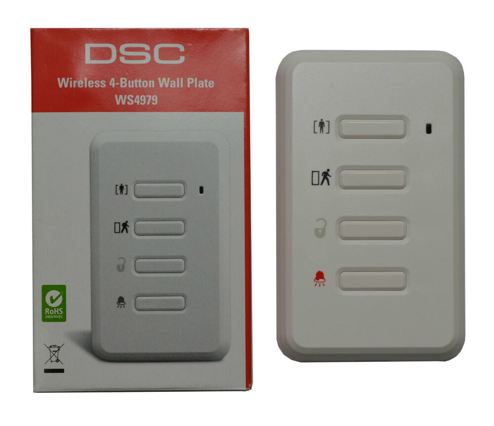 new dsc wireless 4 button wall plate switch panel indoor alarm security ws4979 ebay. Black Bedroom Furniture Sets. Home Design Ideas