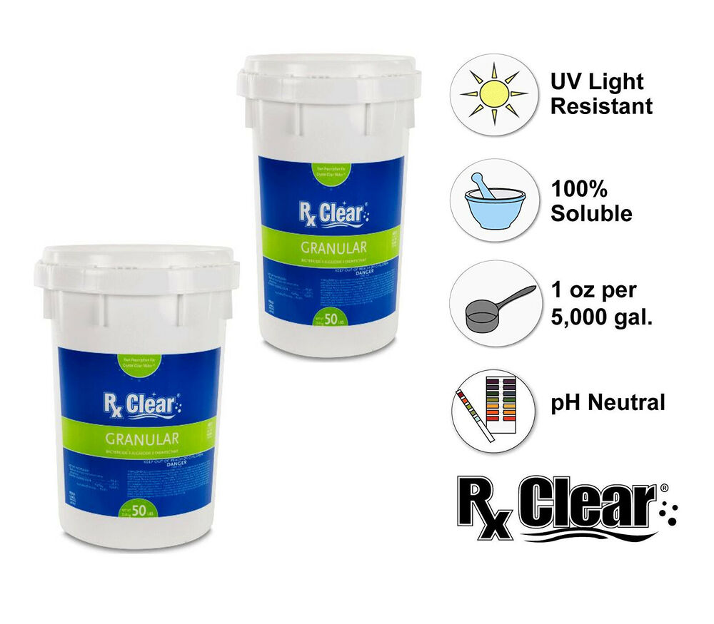 Rx Clear 99 3 Sodium Di Chlor Granular Swimming Pool Chlorine 100 Lbs Ebay