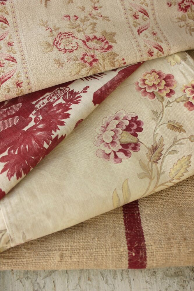 Antique french fabric vintage material project bundle for French toile fabric