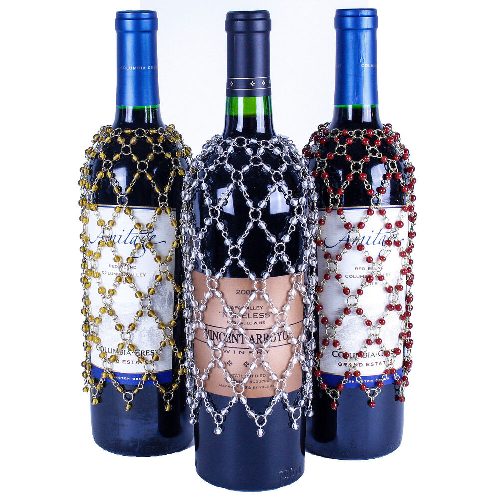 What To Make With Wine Bottles: SET OF 3 BEADED WINE BOTTLE COVERS Gold, Silver, Burgundy