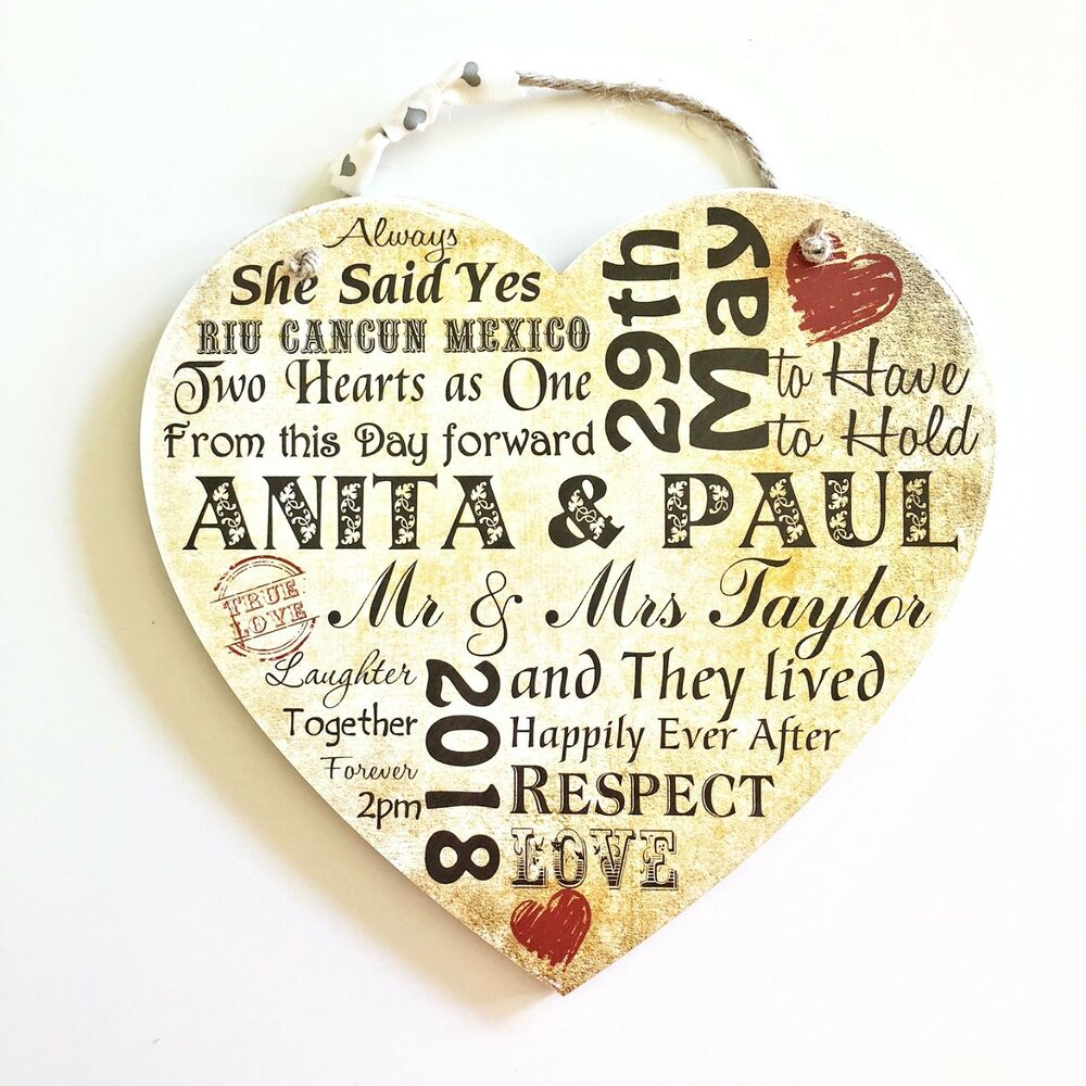 Personalised Wedding Wooden Plaque Heart Typography Sign Gift Memories ...