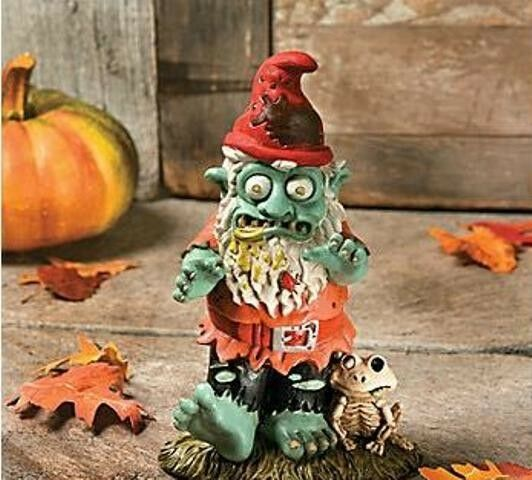 Gnome In Garden: Ghoulish Zombie Gnome With Skeleton Frog Pal Halloween