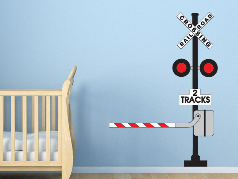 Railroad Crossing Sign Wall Decal Train Themed Room Wall