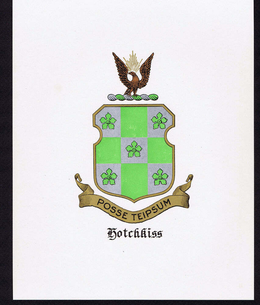 HOTCHKISS Coat of Arms & Family Crest - Vintage Print | eBay