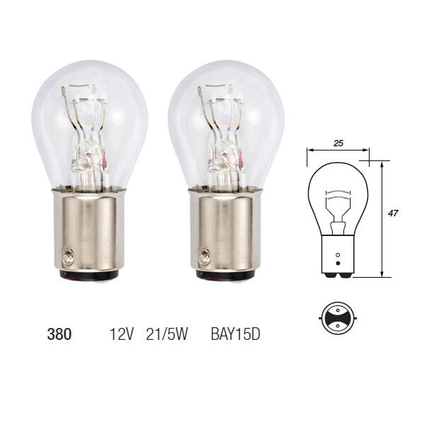 2 x 380 p21 5w bay15d brake stop tail light car bulbs. Black Bedroom Furniture Sets. Home Design Ideas
