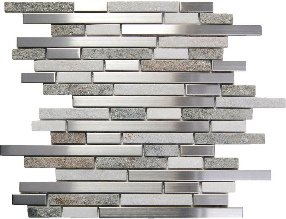 - Stainless Steel White Gray Stone Mosaic Tile Kitchen Backsplash ...