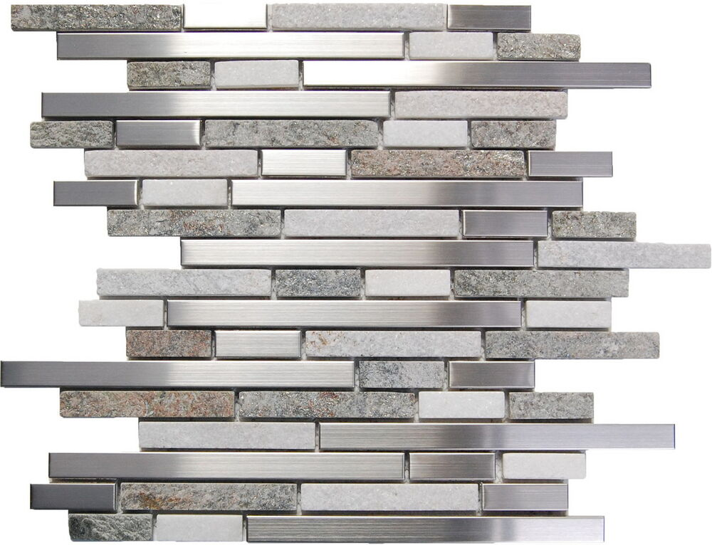 sample stainless steel white gray stone mosaic tile