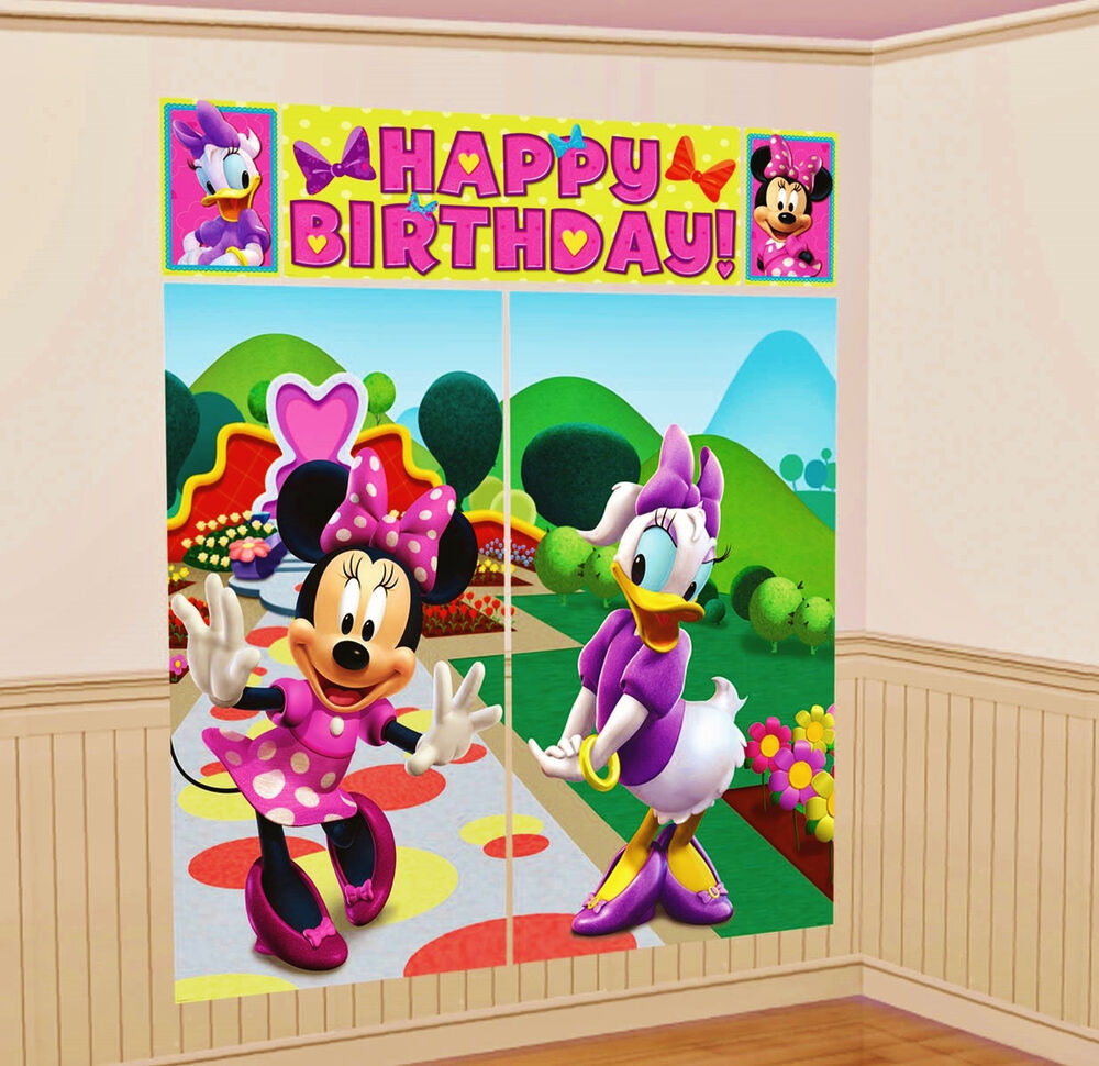 Disney minnie mouse scene setter wall decoration kit party for Decoration stuff