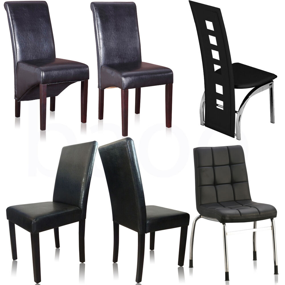 Dining chairs black faux leather chrome legs dining room for Black leather dining room chairs