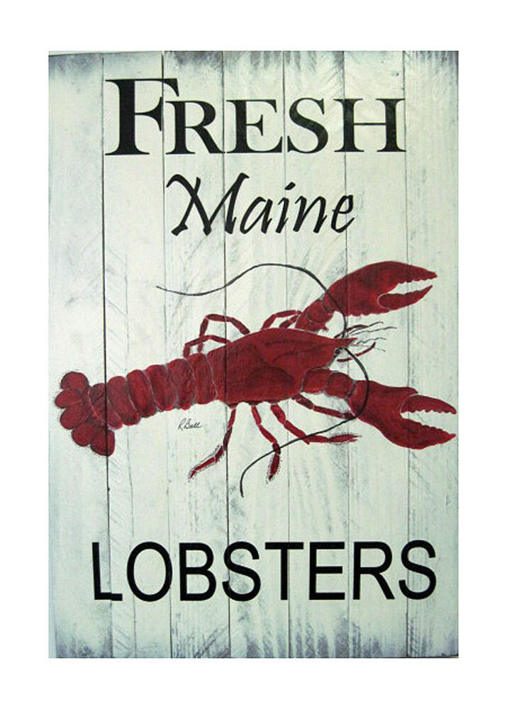 Large Lobster Wall Decor : Wall art fresh maine lobsters decorative wooden sign