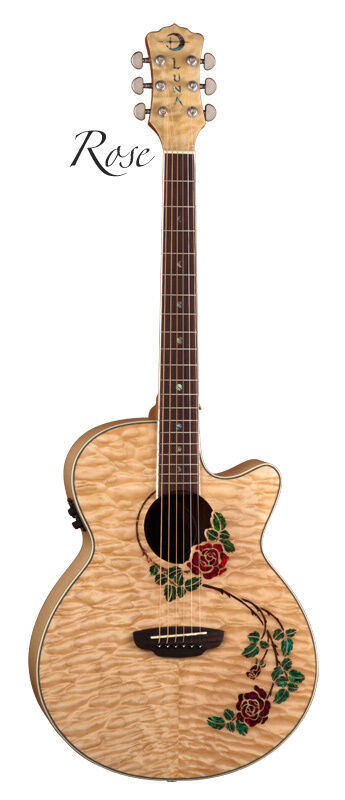 Luna Flora Rose Quilted Maple Acoustic-Electric Guitar | eBay