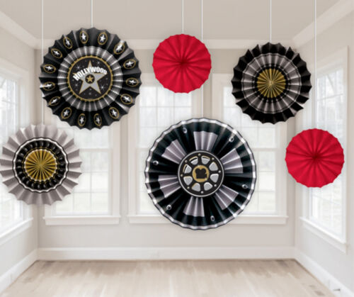6 x Hollywood hanging Paper Fans Party Decorations